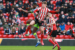 March 16, 2019 - Sunderland, Tyne and Wear, United Kingdom - Sunderland's Max Power contests for the ball with Walsall's Corey Blackett-Taylor during the Sky Bet League 1 match between Sunderland and Walsall at the Stadium Of Light, Sunderland on Saturday 16th March 2019. (Credit: Steven Hadlow | MI News) (Credit Image: © Mi News/NurPhoto via ZUMA Press)