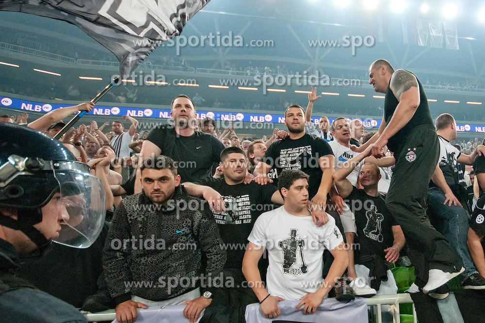 Partizan fans celebrating victory after final match of Basketball NLB League at Final Four tournament between KK Union Olimpija (SLO) and Partizan Belgrade (SRB), on April 21, 2011 at SRC Stozice, Ljubljana, Slovenia. (Photo By Matic Klansek Velej / Sportida.com)