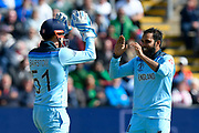 Wicket - Adil Rashid of England celebrates taking the wicket of Mohammad Mithun of Bangladesh with Jonny Bairstow of England during the ICC Cricket World Cup 2019 match between England and Bangladesh the Cardiff Wales Stadium at Sophia Gardens, Cardiff, Wales on 8 June 2019.