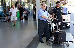 at arrival of Portugal football team Clube Desportivo Nacional da Madeira to Slovenia, on August 2, 2010 at Airport Joze Pucnik, Brnik, Slovenia. (Photo by Vid Ponikvar / Sportida)