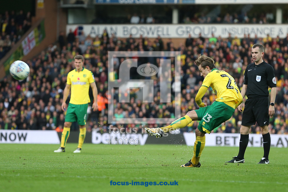 James Maddison of Norwich has a shot on goal from a free kick during the Sky Bet Championship match at Carrow Road, Norwich<br /> Picture by Paul Chesterton/Focus Images Ltd +44 7904 640267<br /> 28/10/2017