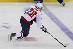 Mar 18; Newark, NJ, USA; Washington Capitals left wing Alexander Semin (28) skates with the puck during the first period of their game against the New Jersey Devils at the Prudential Center.
