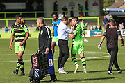 Forest Green Rovers manager, Mark Cooper and Forest Green Rovers Charlie Cooper(15) at the final whistle during the EFL Sky Bet League 2 match between Forest Green Rovers and Yeovil Town at the New Lawn, Forest Green, United Kingdom on 19 August 2017. Photo by Shane Healey.