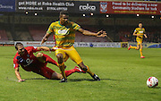 Dave Winfield & Jakub Sokolik during the Sky Bet League 2 match between York City and Yeovil Town at Bootham Crescent, York, England on 18 August 2015. Photo by Simon Davies.