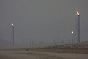 Oil field at dusk.