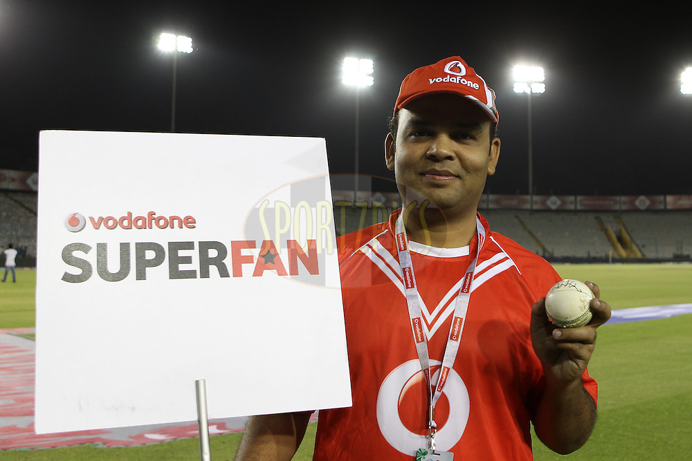 The Vodafone Superfan during match 59 of of the Pepsi Indian Premier League between The Kings XI Punjab and the Sunrisers Hyderabad held at the PCA Stadium, Mohal, India  on the 11th May 2013..Photo by Ron Gaunt-IPL-SPORTZPICS ..Use of this image is subject to the terms and conditions as outlined by the BCCI. These terms can be found by following this link:..http://www.sportzpics.co.za/image/I0000SoRagM2cIEc