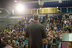 © Licensed to London News Pictures. <br /> <br /> Pictured: UKIP Party Leader Nigel Farage on 11/09/2015 on the UKIP Say NO to EU Tour in Gloucester, England.<br /> <br />  Photo credit should read Max Bryan/LNP