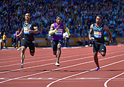USA's Michael Rodgers (centre) wins the first heat of the 100m in 10.04 during the Sainsbury's Birmingham Grand Prix IAAF Diamond League Meeting at Alexandra Stadium, Birmingham, West Midlands, England on June  07  2015. (Steve Flynn/Image of Sport)