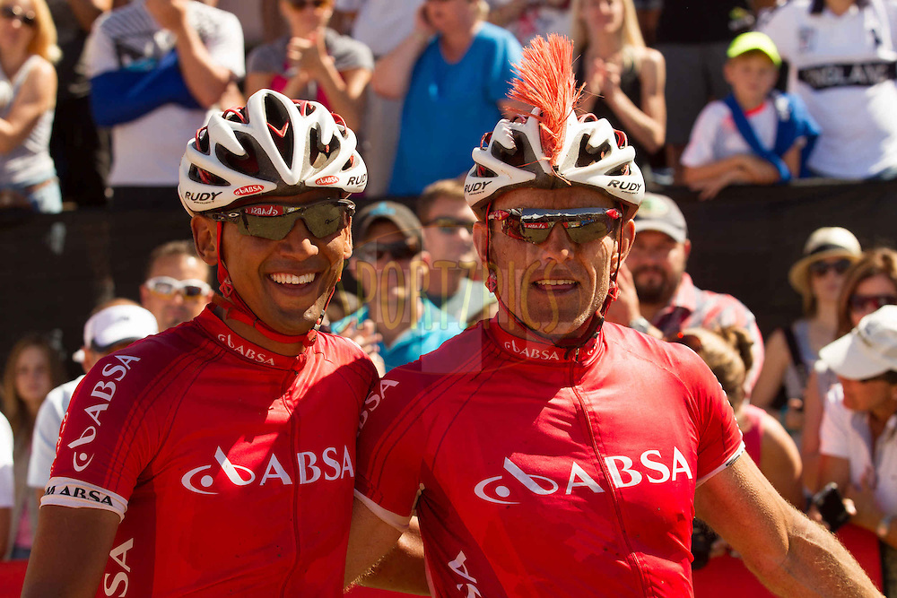 Owen Hannie (left) and Joel Stransky (right) after finishing the 2013 Absa Cape Epic Mountain Bike stage race at Lourensford Wine Estate in Somerset West, South Africa on the 24 March 2013..Photo by Greg Beadle/Cape Epic/SPORTZPICS