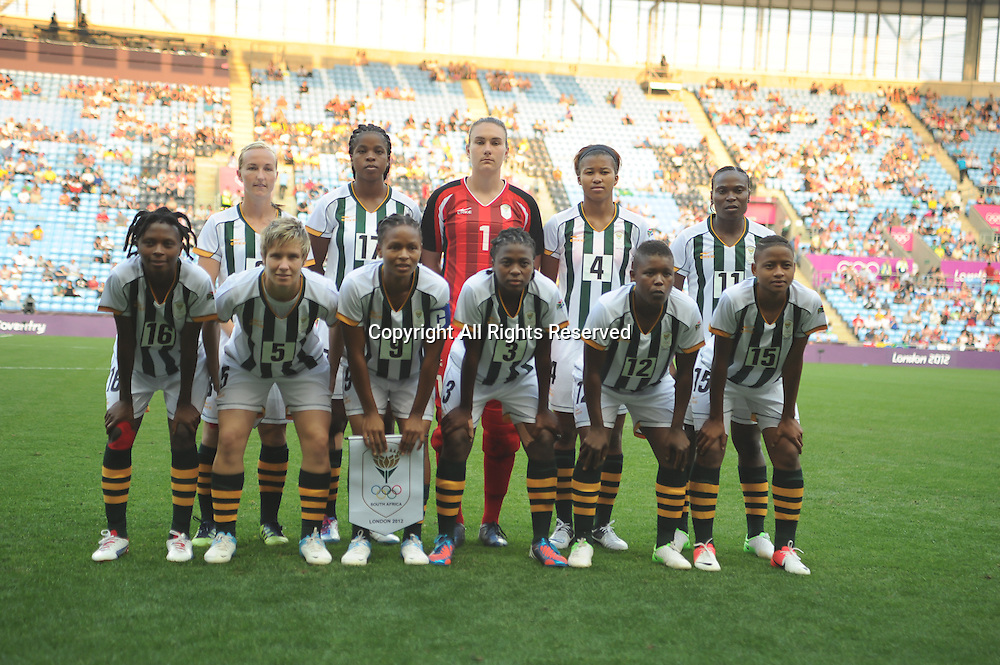 25.07.2012 Coventry, England.  Team South Africa picture during the Olympic Football Women's Preliminary game between Sweden and South Africa from the City of Coventry Stadium