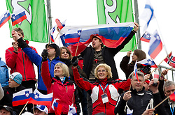 Fans during Flying Hill Team at 3rd day of FIS Ski Jumping World Cup Finals Planica 2011, on March 19, 2011, Planica, Slovenia. (Photo by Vid Ponikvar / Sportida)