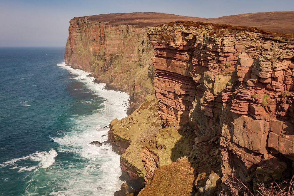 St Johns head coastline on the remote island of Hoy near the seastack of the Old Man of Hoy.