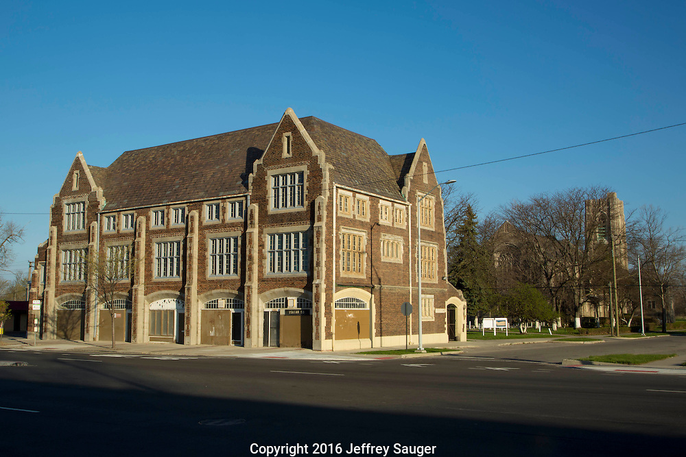 St. Columba Activity Hall and Church in the Jefferson-Chalmers neighborhood in Detroit, Michigan, Wednesday, April 20, 2016. <br /> <br /> On September 7, 2016, The National Trust for Historic Preservation gave the Jefferson-Chalmers neighborhood in Detroit&rsquo;s lower east side the distinction of a National Treasure. This is the first in the state of Michigan and the first project under the National Trust&rsquo;s ReUrbanism initiative. (Photo by Jeffrey Sauger )