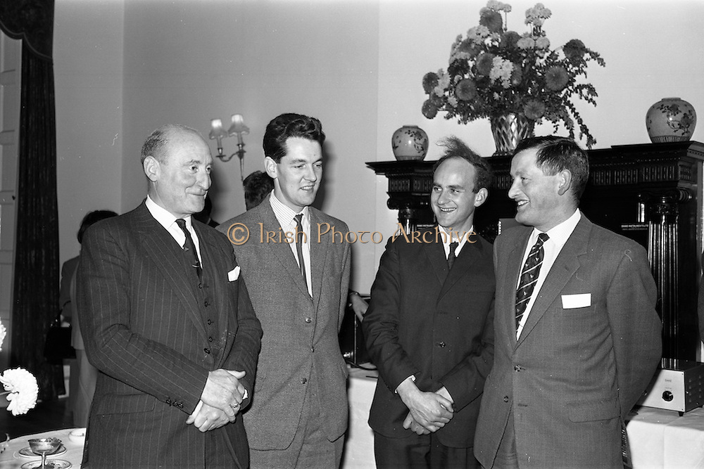 22/10/1963<br /> 10/22/1963<br /> 22 October 1963<br /> Henry Spring and Co. Ltd. reception at the Shelbourne Hotel, Dublin. At the reception to demonstrate Ultra-sonic Cleaning for the Watchmaking and Jewellery Trade were (l-r): Mr. J. McDowell, Managing Director, McDowells Ltd.; Dr. B.T. Sterne, Institute for Industrial Research and Standards; Mr. Patrick Moss, Director, Weir and Sons Ltd. and Mr. J.H. Marshall, Director, Henry Spring and Co. Ltd..