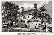 Woolsthorpe Manor, near Grantham, Lincolnshire, England, birthplace of Isaac Newton (1642-1727). Early 19th century copperplate engraving.