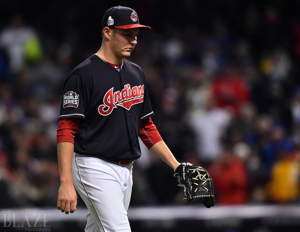 Oct 26, 2016; Cleveland, OH, USA; Cleveland Indians starting pitcher Trevor Bauer walks back to the dugout after being relieved in the fourth inning against the Chicago Cubs in game two of the 2016 World Series at Progressive Field. Mandatory Credit: Ken Blaze-USA TODAY Sports