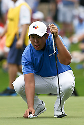 August 12, 2017 - Charlotte, North Carolina, United States - Byeong Hun An lines up a putt on the second green during the third round of the 99th PGA Championship at Quail Hollow Club. (Credit Image: © Debby Wong via ZUMA Wire)