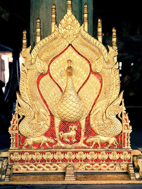 Golden Lanna peacock at Rai Mae Fah Luang museum