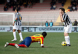ITALY, Lecce :Del Piero J Grossmuller L during the Serie A match between Lecce and Juventus at Stadio Via del Mare in Lecce on February 20, 2011. .AFP PHOTO / GIOVANNI MARINO