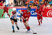Graz, Austria - 2017 March 23: Floor Hockey Match between SO Austria (red) and SO Spain (white) while Special Olympics World Winter Games Austria 2017 at Convention Centre Messe Graz on March 23, 2017 in Graz, Austria.<br /> <br /> Mandatory credit:<br /> Photo by &copy; Adam Nurkiewicz / Mediasport<br /> <br /> Adam Nurkiewicz declares that he has no rights to the image of people at the photographs of his authorship.<br /> <br /> Picture also available in RAW (NEF) or TIFF format on special request.<br /> <br /> Any editorial, commercial or promotional use requires written permission from the author of image.<br /> <br /> Image can be used in the press when the method of use and the signature does not hurt people on the picture.