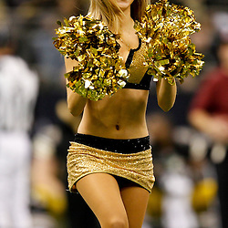 November 6, 2011; New Orleans, LA, USA; New Orleans Saints Saintsations cheerleader performs at the end of the first quarter of a game against the Tampa Bay Buccaneers at the Mercedes-Benz Superdome. Mandatory Credit: Derick E. Hingle-US PRESSWIRE
