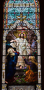 Stained glass window at Ss. Peter and Paul Church in Kiel, Wis., depicts Jesus raised from the dead on Easter. (Sam Lucero photo)