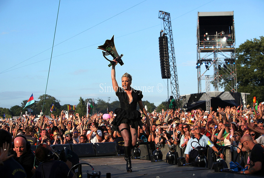Pink performs on the main stage during day three of the Isle of Wight Festival 2010 at Seaclose Park on June 13, 2010 in Newport, Isle of Wight. (Photo by Simone Joyner)