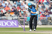 Worcestershire's Charlie Morris bowled during the Royal London 1 Day Cup match between Lancashire County Cricket Club and Worcestershire County Cricket Club at the Emirates, Old Trafford, Manchester, United Kingdom on 17 April 2019.