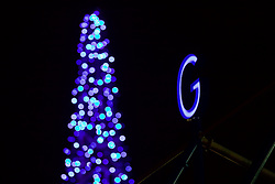 LIVERPOOL, ENGLAND - Monday, December 19, 2016: A neon letter G spelling Goodison and a blue illuminated Christmas tree outside Everton's Goodison Park stadium before the FA Premier League match against Liverpool, the 227th Merseyside Derby, at Goodison Park. (Pic by David Rawcliffe/Propaganda)