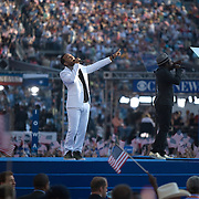 Singers John Legend, left, and Will-I-Am on the fourth day of the Democratic National Committee (DNC) Convention at Invesco Field in Denver, Colorado (CO), Thursday, Aug. 28, 2008.  ..Photo by Khue Bui