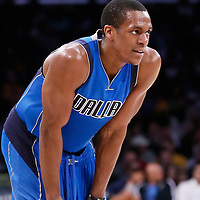 12 April 2014: Dallas Mavericks guard Rajon Rondo (9) rests during the Dallas Mavericks 120-106 victory over the Los Angeles Lakers, at the Staples Center, Los Angeles, California, USA.