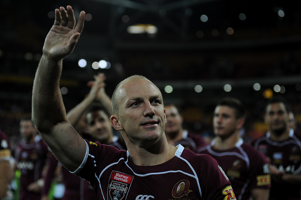 July 6th 2011: Darren Lockyer of the Maroons thanks the fans after game 3 of the 2011 State of Origin series at Suncorp Stadium in Brisbane, QLD, Australia on July 6, 2011. Photo by Matt Roberts / mattrimages.com.au / QRL