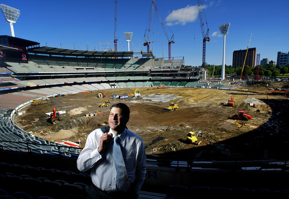 Premier Steve Bracks at the MCG where work is going ahead in preparation for the Commonweatlth games  Pic By Craig Sillitoe SPECIAL 000 melbourne photographers, commercial photographers, industrial photographers, corporate photographer, architectural photographers, This photograph can be used for non commercial uses with attribution. Credit: Craig Sillitoe Photography / http://www.csillitoe.com<br />