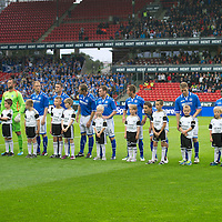 Rosenborg v St Johnstone....18.07.13  UEFA Europa League Qualifier.<br /> St Johstone players line up before kick off<br /> Picture by Graeme Hart.<br /> Copyright Perthshire Picture Agency<br /> Tel: 01738 623350  Mobile: 07990 594431
