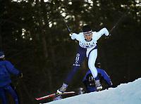 20011202: Christine Madsen fra Ringerike (Ringkollen SK) ble nummer fire i juniorklassen under søndagens utslagsrenn Gålåsprinten på Dombås. Også lørdag gjorde hun det svært bra. Langrenn kvinner. (Foto: Andreas Fadum)