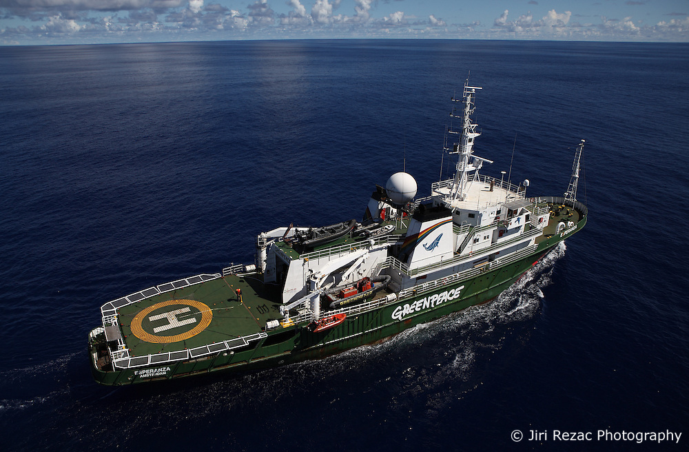 INDIAN OCEAN 26MAR13 - Aerial view of the Esperanza during sunny weather in the Indian Ocean.<br /> <br /> <br /> <br /> The Greenpeace ship Esperanza is on patrol in the Indian ocean documenting illegal fishing vessels.<br /> <br /> <br /> <br /> jre/Photo by Jiri Rezac / Greenpeace