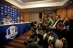 © Licensed to London News Pictures. 02/10/2012. LONDON, UK. European Ryder Cup Team captain José María Olazábal of Spain (L) and team mate Nicolas Colsaerts of Belgium (2nd L) are seen at a press conference at Heathrow Airport in London today (02/10/12) after winning the 39th Ryder Cup in Chicago, USA, on Sunday (30/09/12). Photo credit: Matt Cetti-Roberts/LNP
