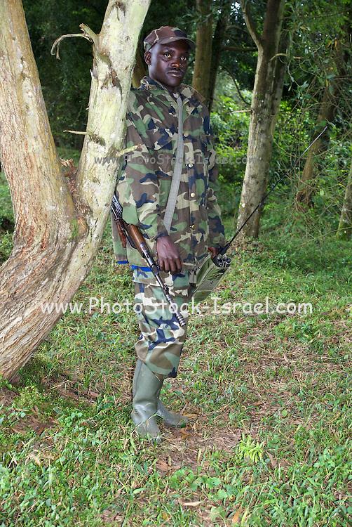 Rwanda, Volcanoes National Park (Parc National des Volcans) armed Rwandan soldier protects the gorillas