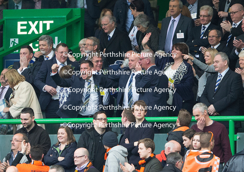 St Johnstone v Dundee United....17.05.14   William Hill Scottish Cup Final<br /> Chairman Steve Brown punches the air as the final whistle blows<br /> Picture by Graeme Hart.<br /> Copyright Perthshire Picture Agency<br /> Tel: 01738 623350  Mobile: 07990 594431