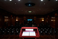 The room where Crown Princess Leonor and -King Felipe of Spain will read the Spanish Constitution in occasion of the 40th anniversary of its approval by the Congress at the Cervantes Institute on October 31, 2018 in Madrid, Spain