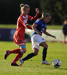 Bristol Academy's Angharad James closes down Everton ladies Vicky Jones - Photo mandatory by-line: Alex James/JMP - Mobile: 07966 386802 23/08/2014 - SPORT - FOOTBALL - Bristol  - Bristol Academy v Everton Ladies - FA Women's Super league