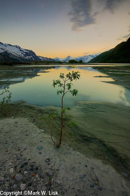 The Fairweather range towers above the Alsek river deep in Glacier Bay National Park, Alaska.