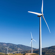 Wind turbines generating power in the porvince of Almeria, Spain.