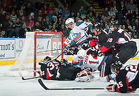 KELOWNA, CANADA - FEBRUARY 9: The Kelowna Rockets and the Prince George Cougars get tangled up in front of the net during second period on February 9, 2015 at Prospera Place in Kelowna, British Columbia, Canada.  (Photo by Marissa Baecker/Shoot the Breeze)  *** Local Caption ***