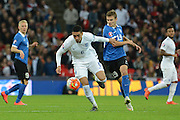 England defender Chris Smalling battles with Estonia defender Ken Kallaste during the Group E UEFA European 2016 Qualifier match between England and Estonia at Wembley Stadium, London, England on 9 October 2015. Photo by Alan Franklin.