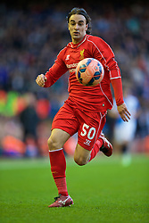 LIVERPOOL, ENGLAND - Sunday, March 8, 2015: Liverpool's Lazar Markovic in action against Blackburn Rovers during the FA Cup 6th Round Quarter-Final match at Anfield. (Pic by David Rawcliffe/Propaganda)