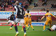 Dundee&rsquo;s Craig Wighton scores his side's fourth goal - Motherwell v Dundee in the Ladbrokes Scottish Premiership at Fir Park, Motherwell.Photo: David Young<br /> <br />  - &copy; David Young - www.davidyoungphoto.co.uk - email: davidyoungphoto@gmail.com