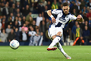 West Bromwich Albion defender Kieran Gibbs (3) takes a penalty during the EFL Sky Bet Championship play-off second leg match between West Bromwich Albion and Aston Villa at The Hawthorns, West Bromwich, England on 14 May 2019.