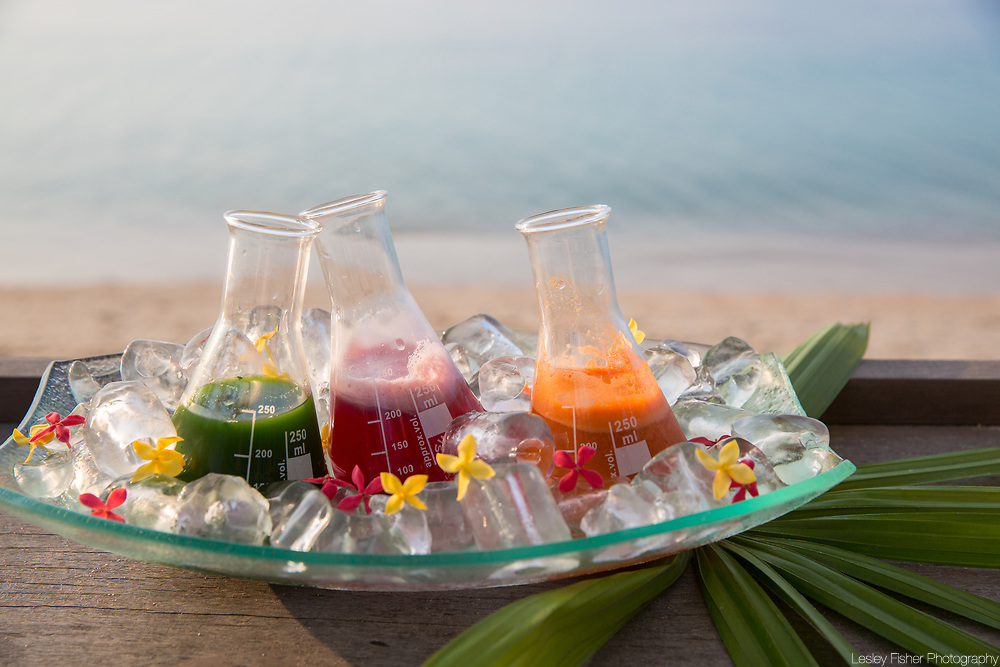 Healthy juices and shakes served at Sea and Sky beach front restaurant located on Ban Tai beach, Koh Samui, Thailand
