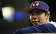 March 12, 2017 - Miami, FL, USA - United States left fielder Christian Yelich before the start of a World Baseball Classic first round Pool C game against Canada on Sunday, March 12, 2017 at Marlins Park in Miami, Fla. (Credit Image: © David Santiago/TNS via ZUMA Wire)